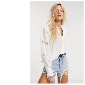 Free People Emma Buttondown Top - Ivory